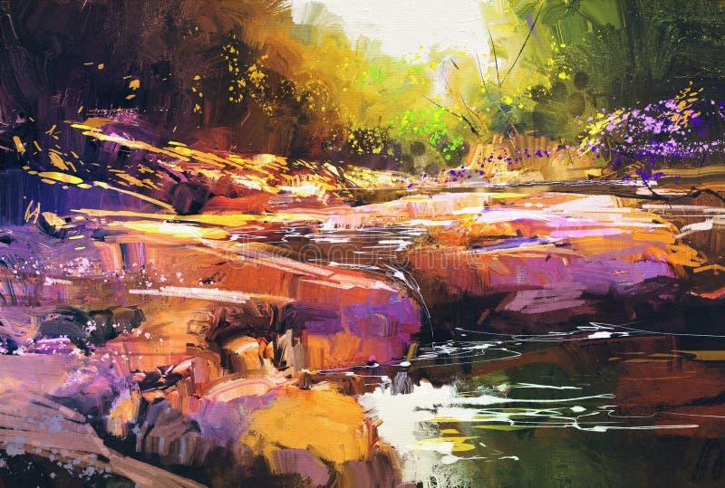 Pięknego spadku rzeczne linie z kolorowymi kamieniami w jesień lesie ilustracji