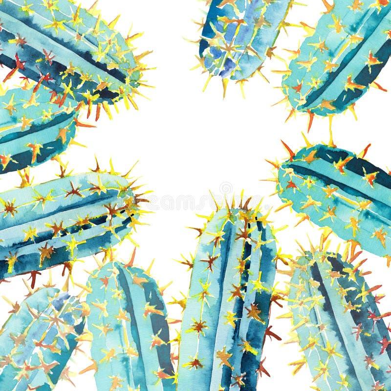 Pięknego uroczego jaskrawego meksykanina Hawaii tropikalnego kwiecistego ziołowego lata kolorowy wzór kaktusowa akwareli ręki ilu royalty ilustracja