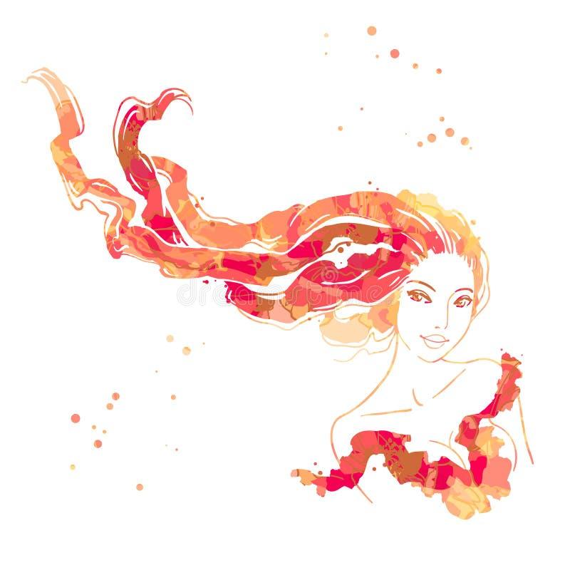 pięknego włosy długie portreta kobiety ilustracji