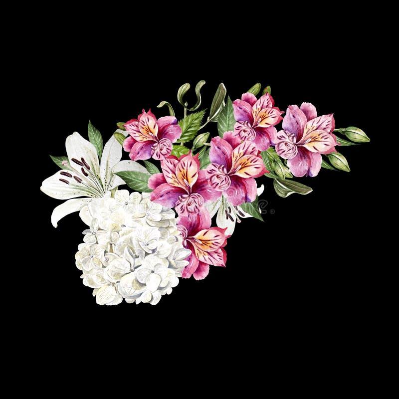 Pięknej akwareli ślubny bukiet z liśćmi i kwiatami leluja, alstroemeria i hudrangea, obraz royalty free