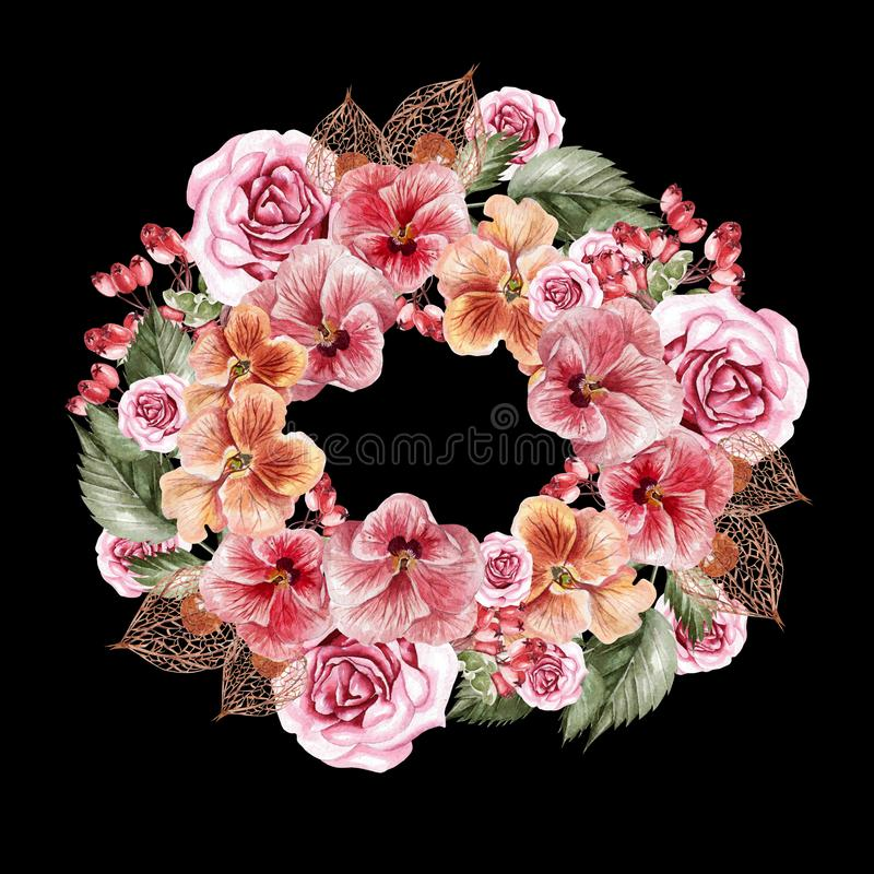 Pięknej akwareli ślubny wianek z fllowers, liśćmi i rosehip akwareli pansies i róż, fotografia royalty free