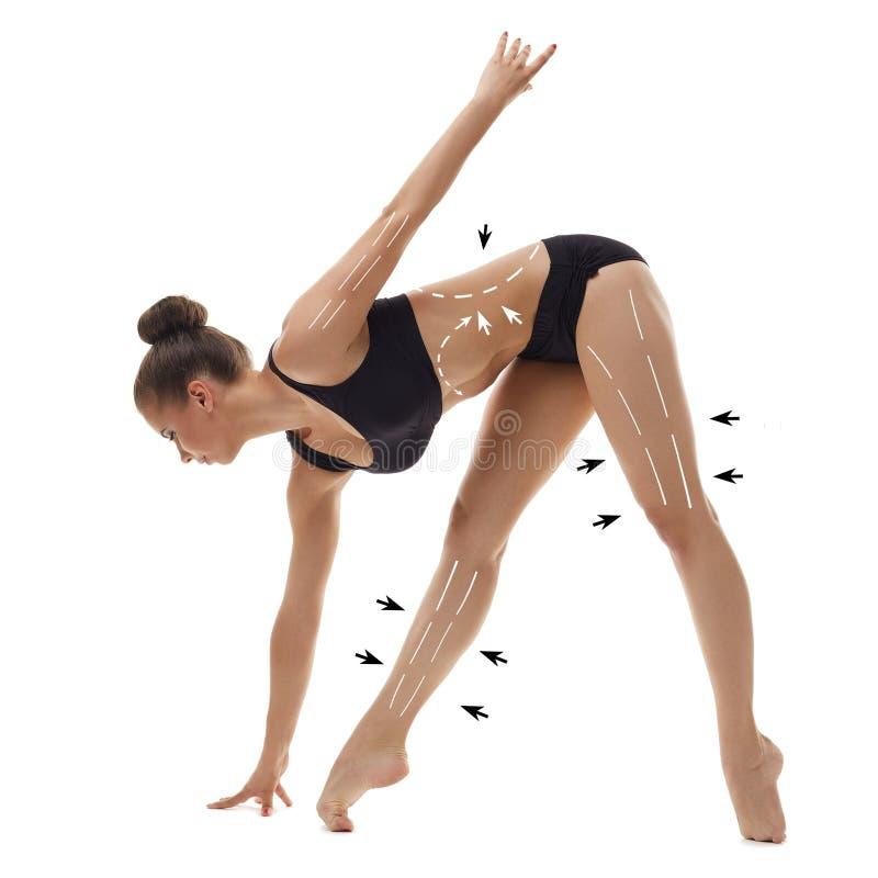 Pięknej baleriny rozgrzewkowy up, odosobniony na bielu obraz royalty free