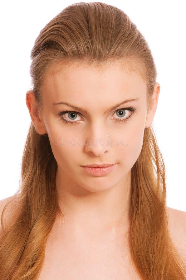 pięknej blondynki błękitny przyglądający się dziewczyny portret obraz royalty free