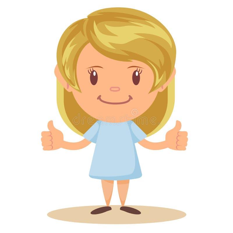 Pięknej blondynki dziewczyny szczęśliwe ono uśmiecha się robi aprobaty podpisują z oba rękami ilustracji
