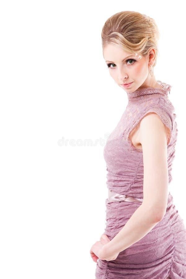 pięknej blondynki odosobniona biała kobieta obraz royalty free