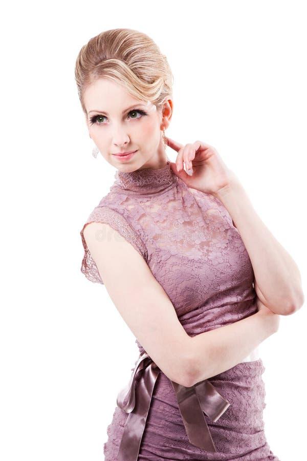 pięknej blondynki odosobniona biała kobieta obraz stock