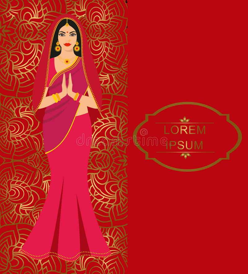 pięknej bollywood brunetki kolorowej mody indyjskiej sari gwiazdy tradycyjni kobiety potomstwa royalty ilustracja