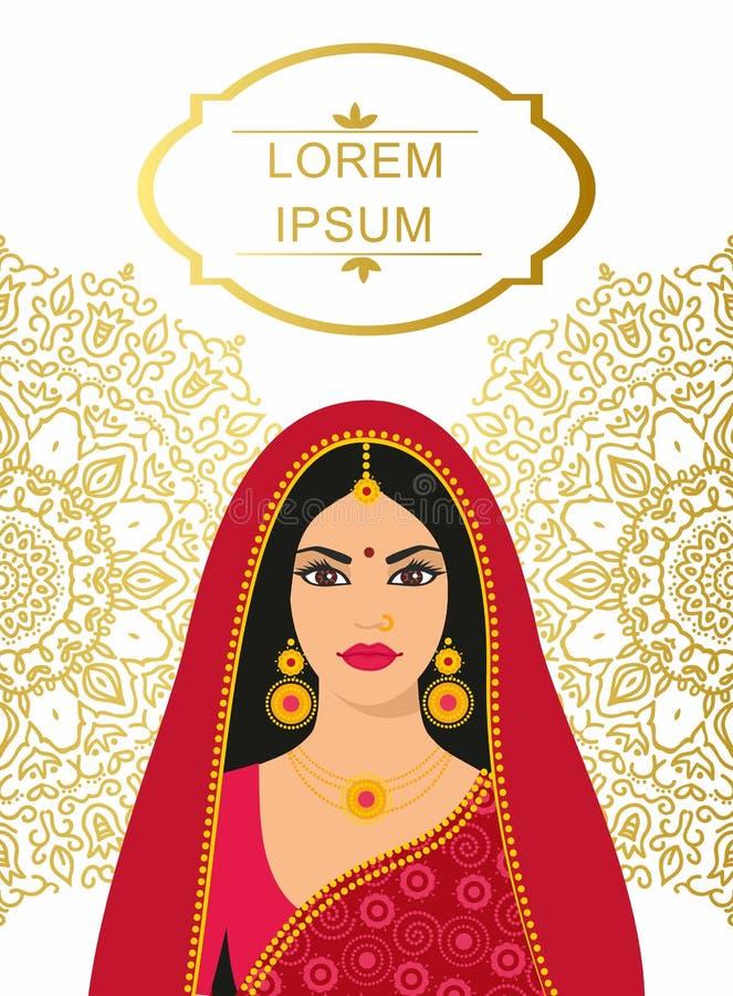 pięknej bollywood brunetki kolorowej mody indyjskiej sari gwiazdy tradycyjni kobiety potomstwa ilustracja wektor