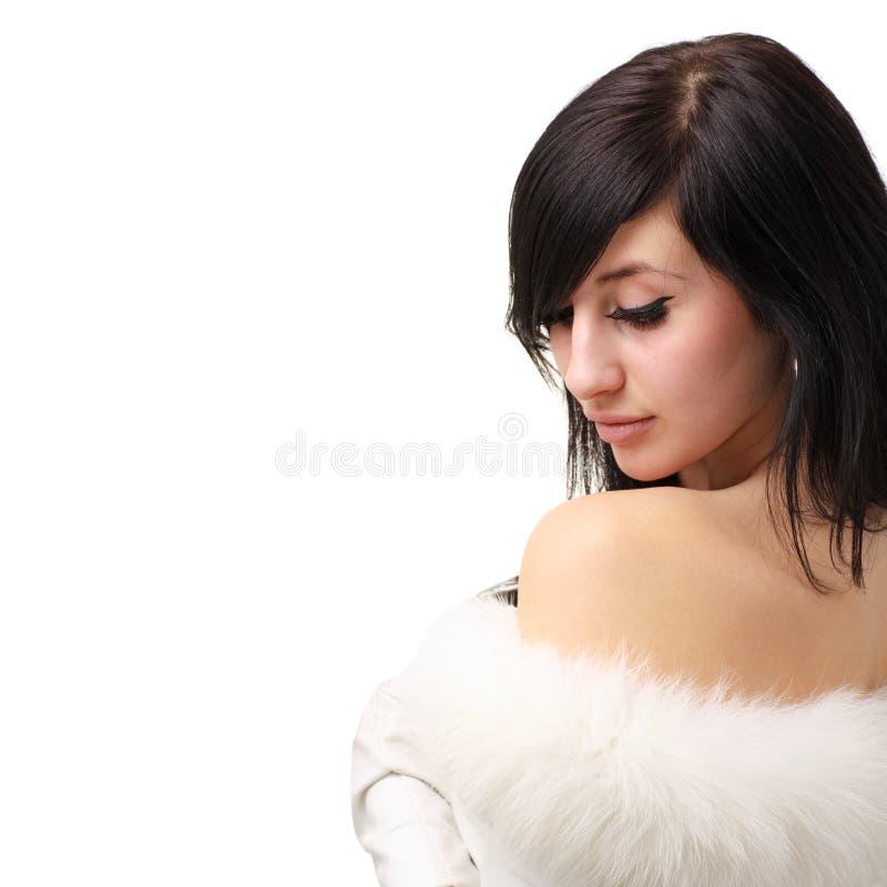 pięknej brunetki futerkowy dziewczyny target581_0_ fotografia royalty free