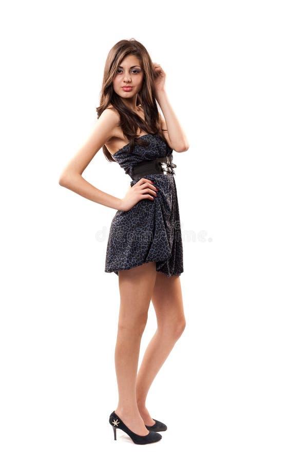 pięknej brunetki target1856_0_ studio zdjęcie stock