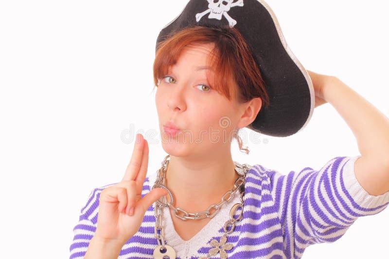 pięknej dziewczyny kapeluszowi pirata potomstwa obraz royalty free