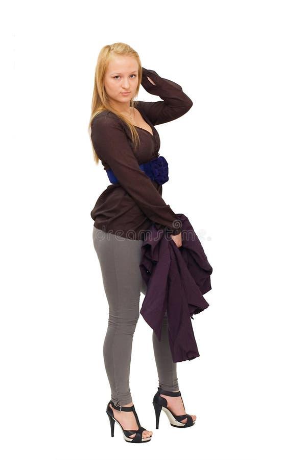 Download Pięknej Dziewczyny Odosobneni Biały Potomstwa Zdjęcie Stock - Obraz złożonej z hairball, przestrzeń: 13339854