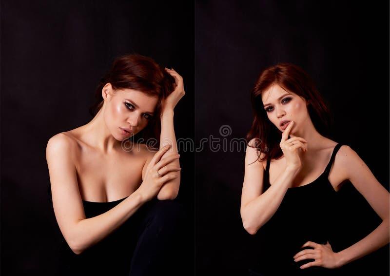 pięknej dziewczyny z włosami portreta czerwień zakończenie Tłuściuchne wargi zdjęcie stock