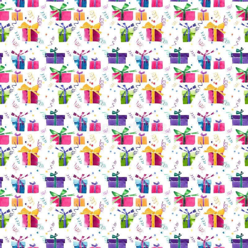 Pięknej graficznej uroczej cudownej wakacyjnej nowy rok jaskrawej zimy kolorowi prezenty z łękami, serpentyna, confetti wzór ilustracja wektor