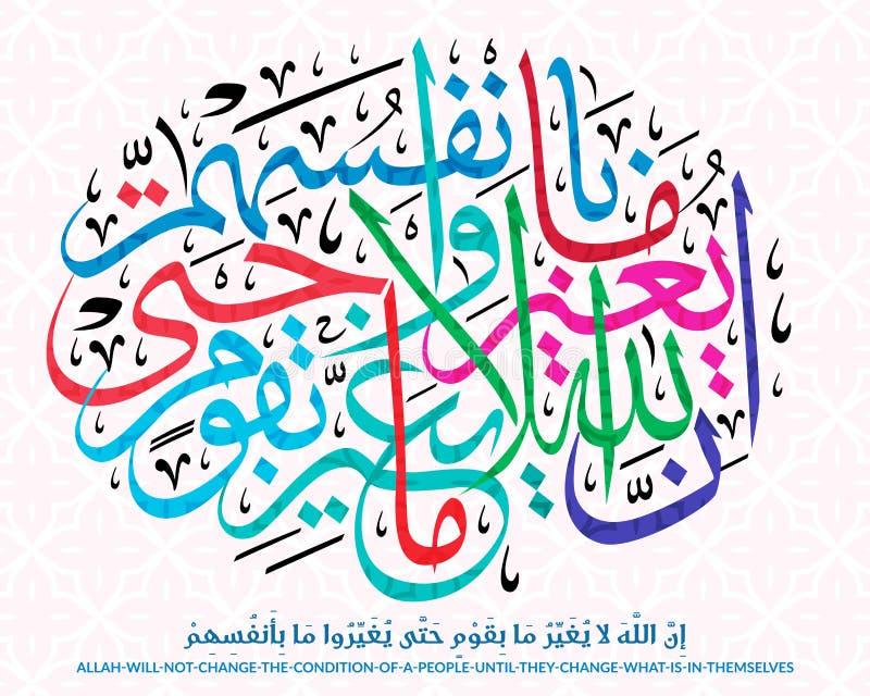 Pięknej kaligrafii Islamski werset royalty ilustracja