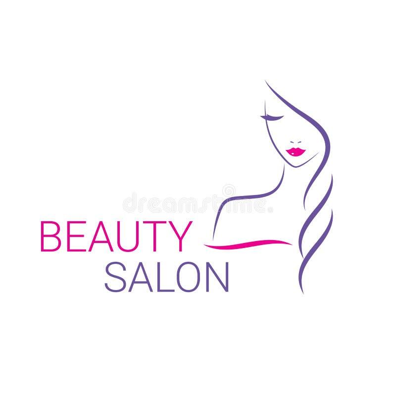 Pięknej kobiety loga wektorowy szablon dla włosianego salonu royalty ilustracja