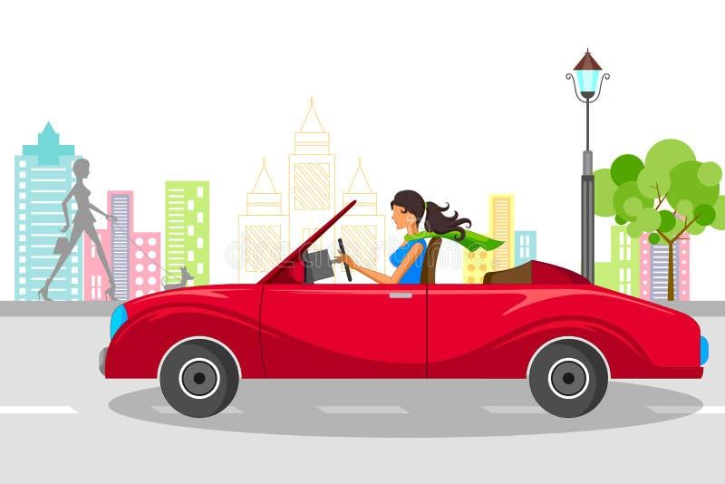 Pięknej kobiety napędowy samochód ilustracji