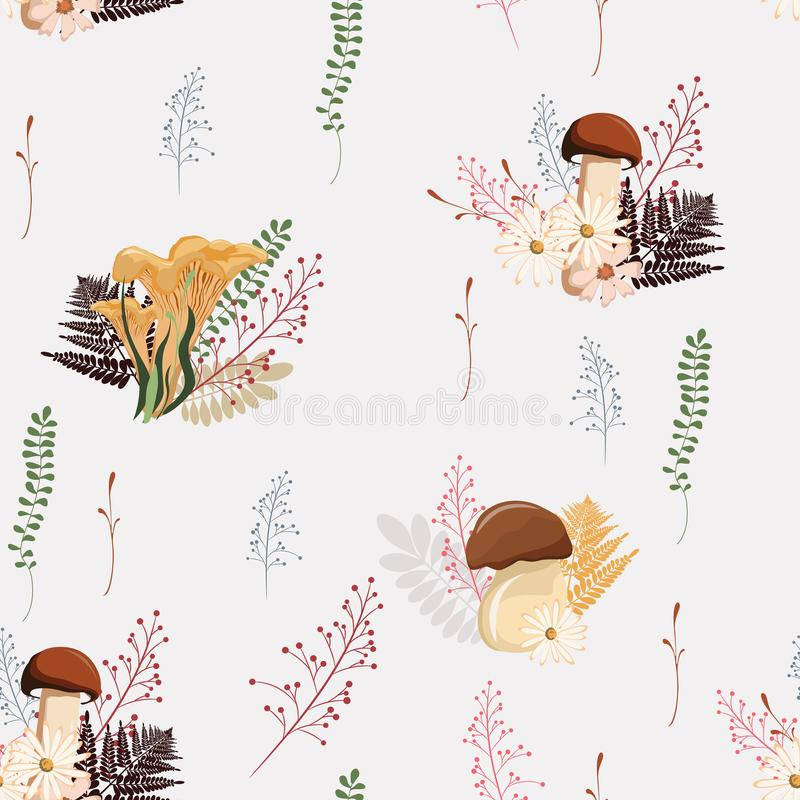 Pięknej lekkiej jesieni bezszwowy deseniowy wektor z pieczarkami, jagodami, paprocią, ziele i liśćmi, royalty ilustracja