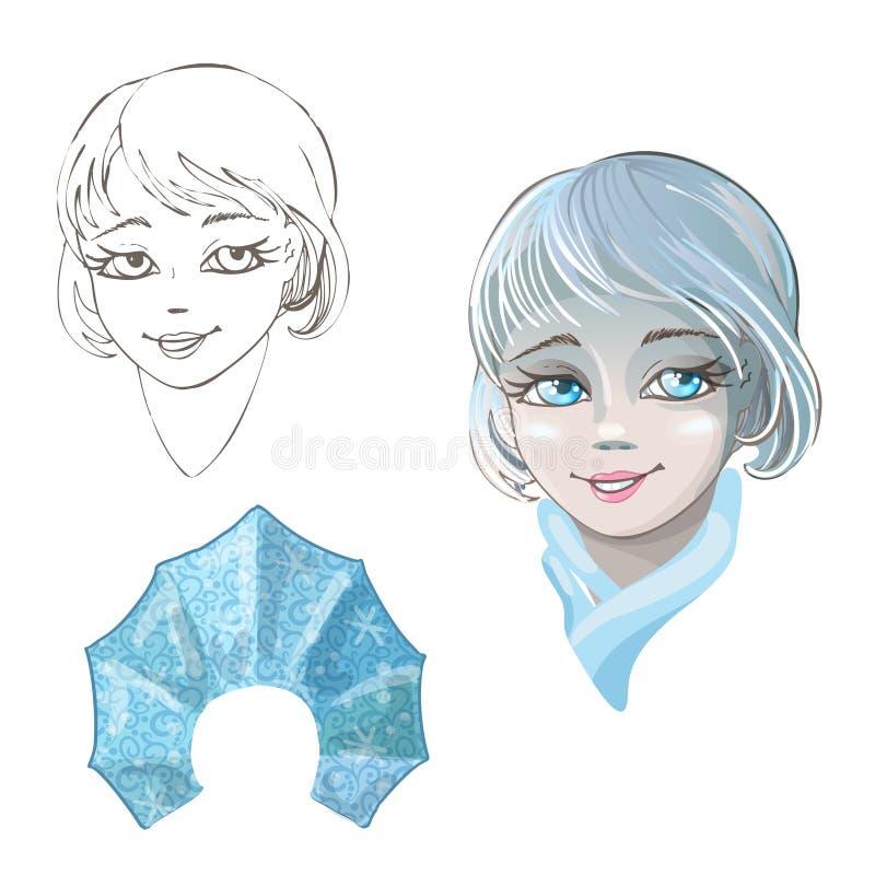 Pięknej młodej dziewczyny śnieżna dziewczyna odizolowywająca na białym tle Charakter Rosyjski folklor Nakreślenie boże narodzenia ilustracji