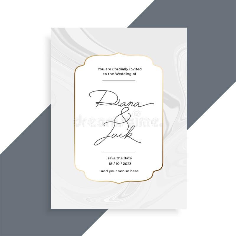 Pięknej marmurowej tekstury zaproszenia karty ślubny szablon royalty ilustracja