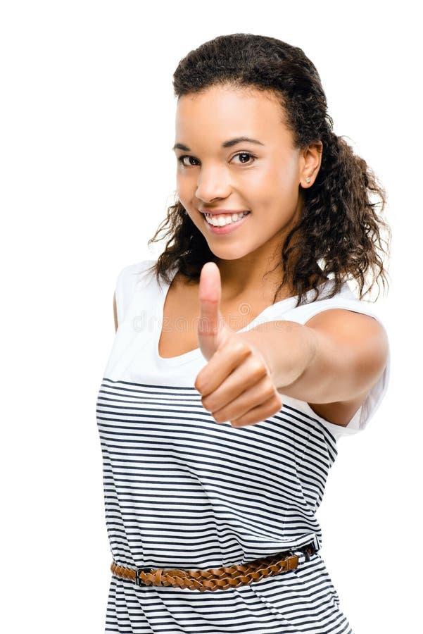 Pięknej mieszanej biegowej kobiety uśmiechnięte aprobaty odizolowywać na białym b obraz stock
