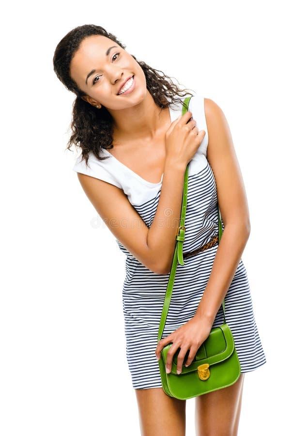 Pięknej mieszanej biegowej kobiety uśmiechnięty portret odizolowywający na białych półdupkach obraz royalty free
