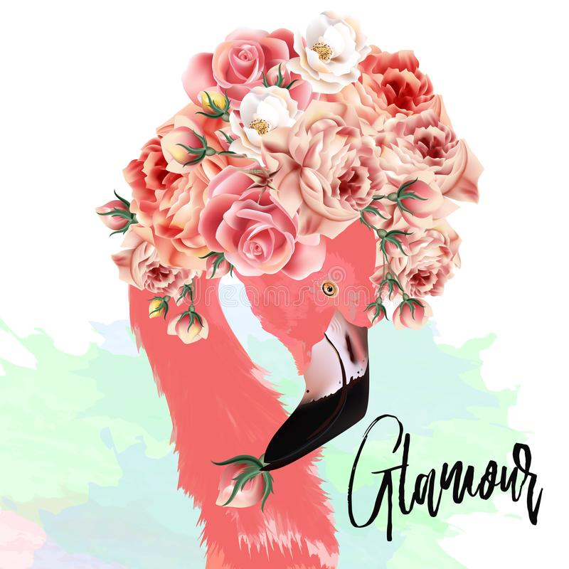 Pięknej mody wektorowa ilustracja z różowym flamingiem i ros royalty ilustracja
