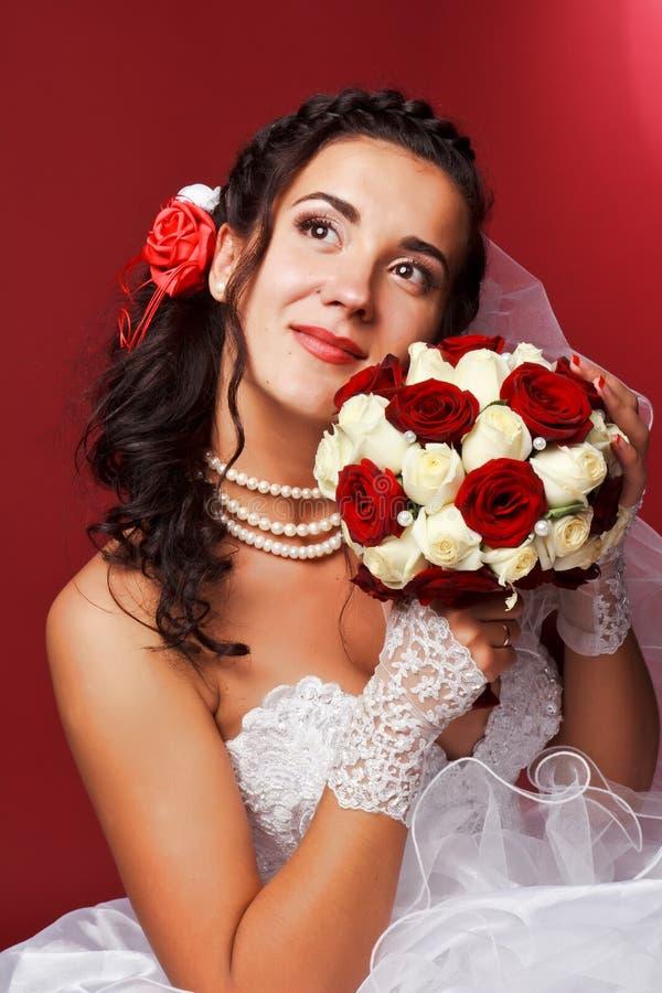 pięknej panny młodej szczęśliwy portret fotografia royalty free