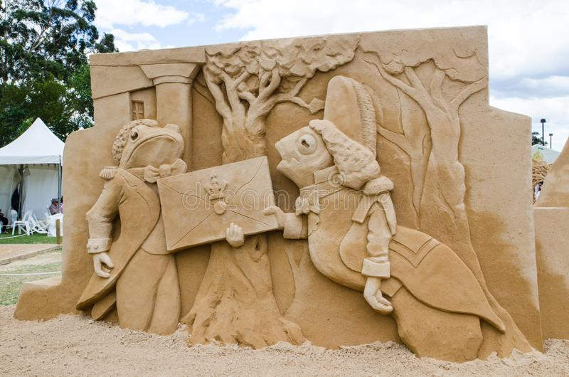 Pięknej piasek rzeźby ` ryba Doręczeniowy ` w krainy cudów wystawie przy Blacktown Showground, obraz royalty free