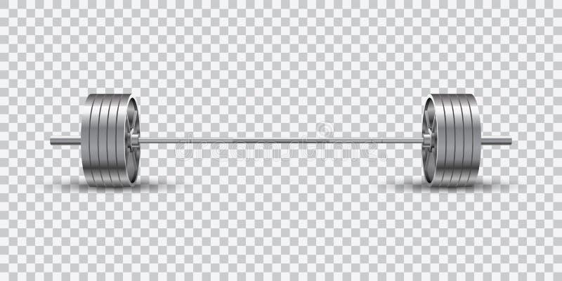 Pięknej realistycznej sprawności fizycznej wektorowy frontowy widok olimpijski barbell z stalowymi talerzami na przejrzystym tle royalty ilustracja