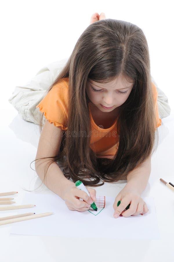 pięknej remisów dziewczyny mali ołówki zdjęcie stock