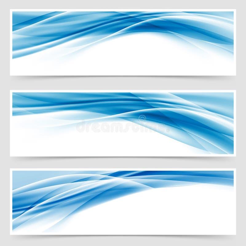 Pięknej techniki chodnikowa stopki błękitny swoosh ilustracja wektor