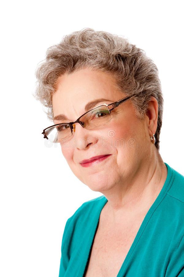 pięknej twarzy szczęśliwa starsza uśmiechnięta kobieta fotografia royalty free