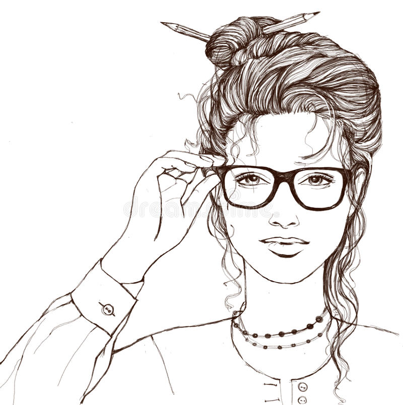 Pięknej uśmiechniętej dziewczyny wzruszający szkła na białym tle zdjęcia royalty free