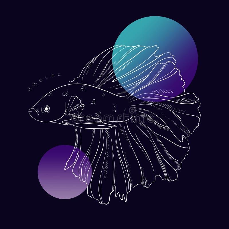 Pięknej złoto ryby podwodna kreskowa sztuka Morski wektorowy nakreślenie Dennego jedzenia ilustracja na czarnym tle wiązka rzeźbi ilustracja wektor