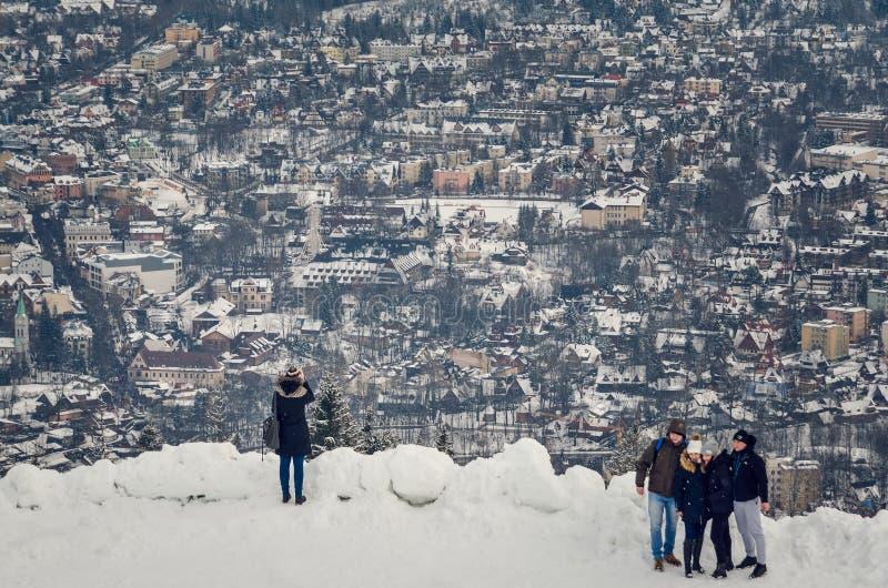 Pięknej zimy turystyczny miasteczko Zakopane w Polska zdjęcie stock