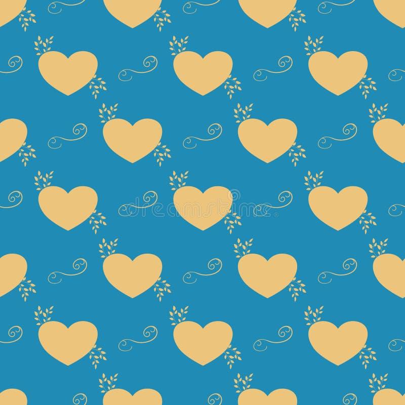 Piękni żółci serca układali równo na miękkim błękitnym tle Biały szew wokoło each przedmiota royalty ilustracja