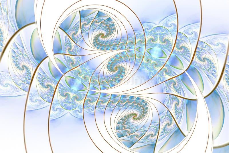 Piękni abstrakcjonistyczni fractal wzory, kształty w błękicie i ilustracja wektor
