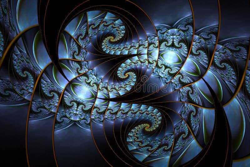 Piękni abstrakcjonistyczni fractal wzory, kształty w błękitnych colours i ilustracja wektor