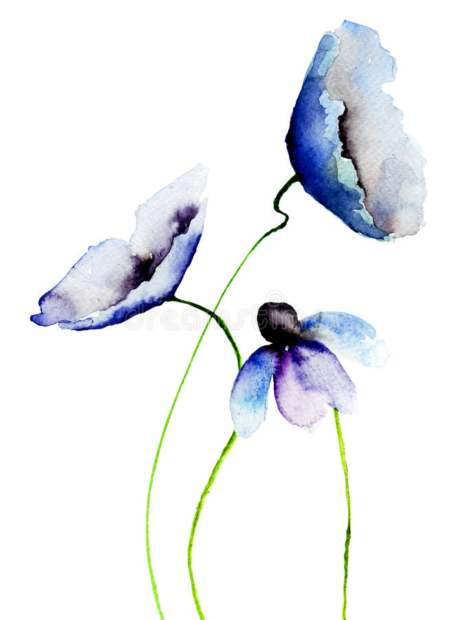 Piękni błękitów kwiaty ilustracji