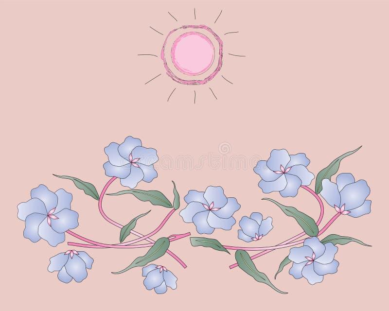 Piękni błękitów kwiaty royalty ilustracja