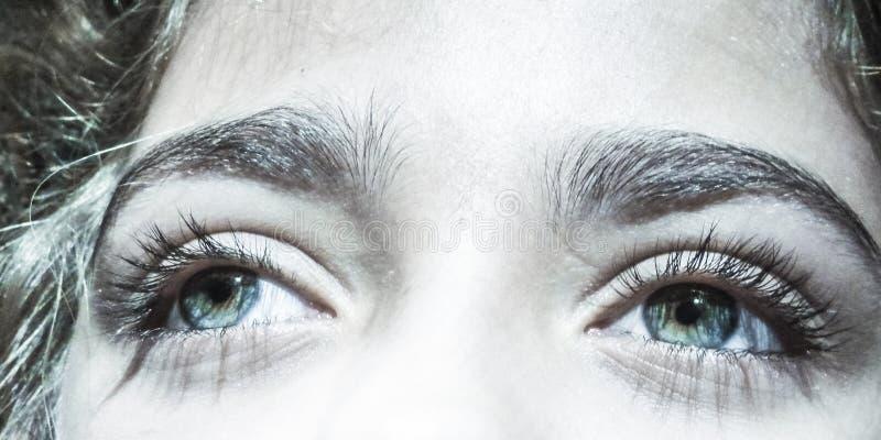 Piękni Błękitnawi Zieleni oczy na młodej dziewczynie obraz royalty free