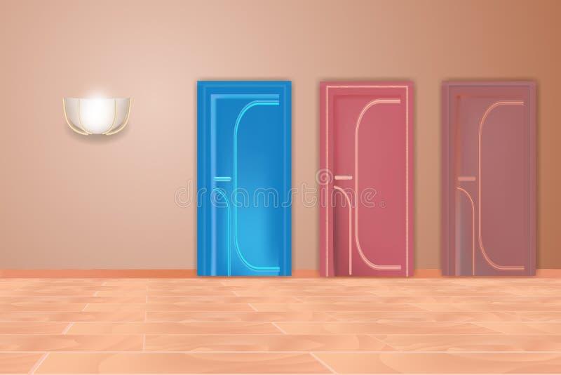 Piękni barwiący drzwi nowoczesne wewnętrznego w domu royalty ilustracja