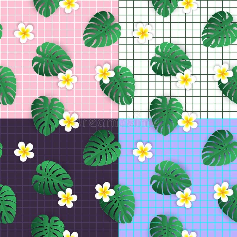 Piękni bezszwowi wektoru wzoru tła ustawiający z tropikalnymi plumeria kwiatami i monstera liśćmi ilustracji