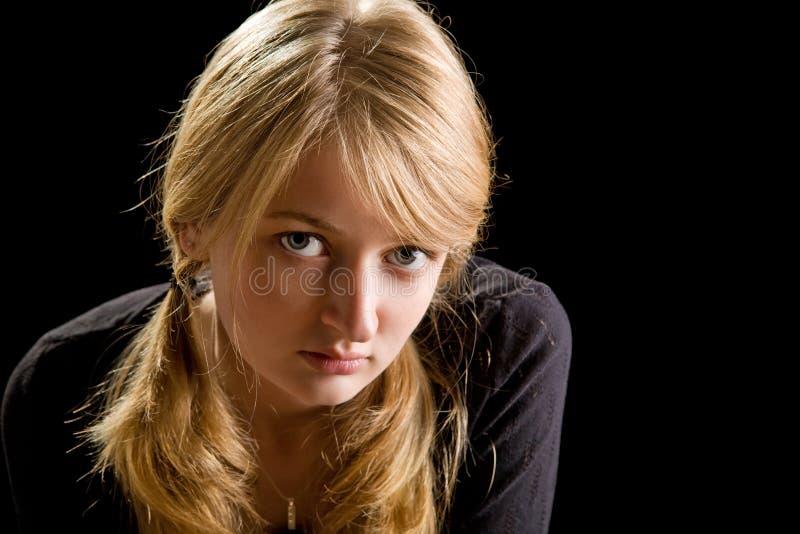piękni blondyny fasonują dziewczyna portret fotografia stock