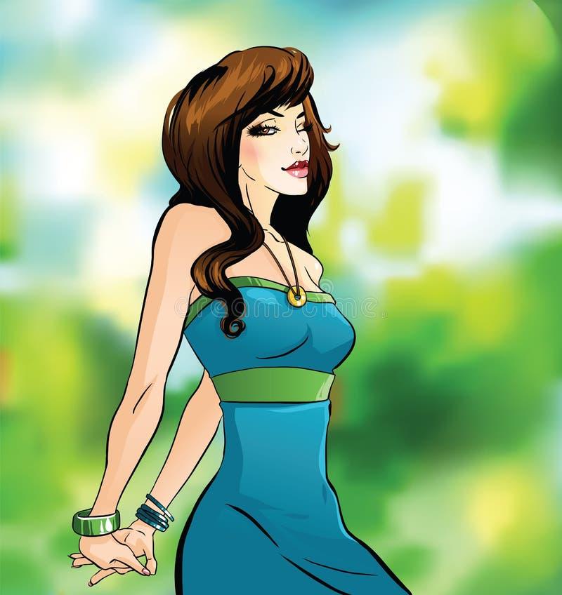 Piękni brunetek mrugnięcia royalty ilustracja