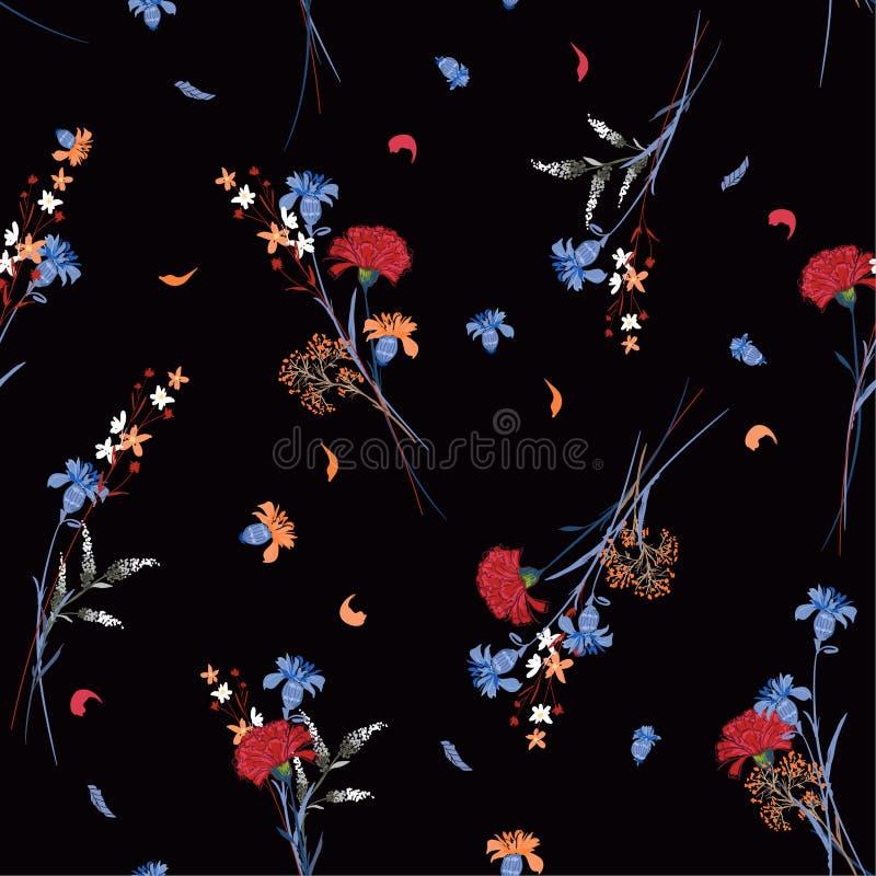 Piękni ciemni dzikiego kwiatu wzoru Botaniczni motywy rozpraszali akademie królewskie ilustracja wektor