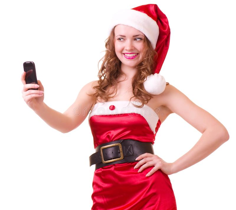 piękni Claus odzieżowi Santa kobiety potomstwa obrazy royalty free