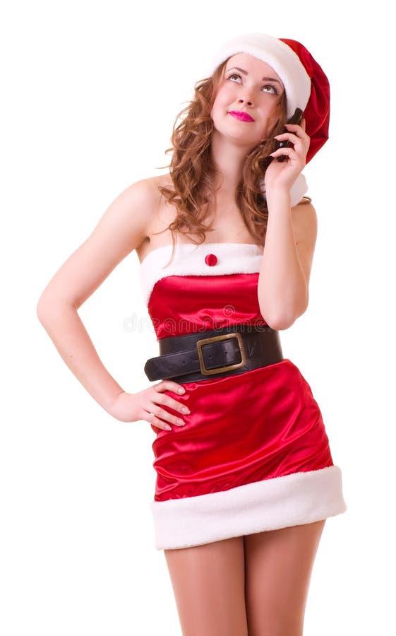 piękni Claus odzieżowi Santa kobiety potomstwa fotografia royalty free