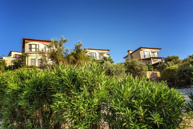 Piękni domy na zielonym wzgórzu na słonecznym dniu obraz stock